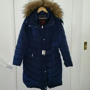 Tommy Hilfiger belted puffer parka coat with hood